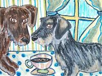 Wirehaired Dachshund Drinking Coffee Doxie Art Print 8x10 Dog Collectible Signed