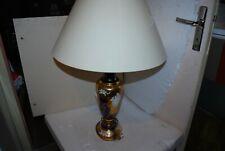 LAMPE CRISTAL BOHEMIA CZECH  DOREE FLEURIE HAUTEUR 54 CM AVEC ABAT JOUR 75 CM