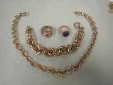"QVC Lot Milor Bronze Jewelry Italy 2 Rings 7 1/4"" Size, Bracelet 8"" Necklace 16"""
