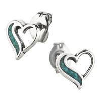 Ohrstecker Herz 4 Türkis Ohrring Sterling Silber für Kinder und Damen