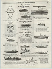 1919 PAPER AD Toy Steam Ships Boats Submarine Chaser Torpedo Boat Gas Mask Piano