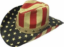 Henschel American USA Flag Walker Straw Cowboy Hat - Patriotic Western Stars