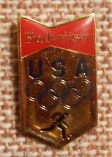 Budweiser Beer Olympic Hat Pin Ale Lapel Pin Clutch Back 1-1/8 inch 1983