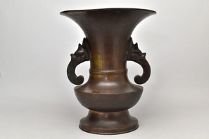 Japanese Antique Bronze Vase Year 1770 Edo Era from a Temple