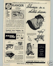 1959 PAPER AD Standard Cycle Bicycle Ranger Model Tank Light South Bend Croquet