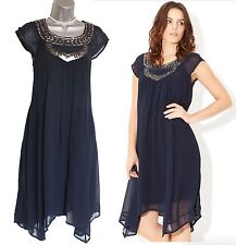 MONSOON Navy Embellished STEVIE Side Pockets Formal Casual Tunic Dress SMALL
