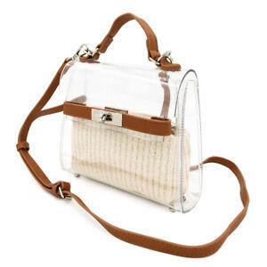 Premium Mini Transparent Clear Top Handle Crossbody Shoulder Handbag
