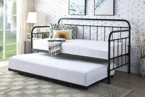 Black / White / Bronze Pull Out Trundle Metal Day Bed & Guest Bed ‖ BSD