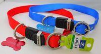 Large Nylon Collar Dog Big dog collar blue, red Engraved bone ID Tag