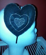 Handmade unique fascinator. Black heart with silver embroidery. Gothic.