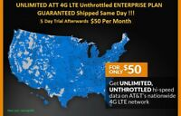 ATT 4G LTE Unlimited HOTSPOT DATA UNTHROTTLED NO CAPS 100% Unlimited $50/Month