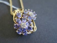 14K Solid Yellow Gold Pendant NWT with 3 Ct Tanzanite Enhanced .50 Diamonds