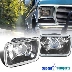 Projector Seal LED Beam Headlights Black w/H4 light Bulbs 7x6