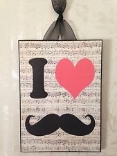 NEW Chic Mustache Plaque Wall Decor French Country Cottage Shabby 5 x 7