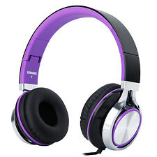 RockPapa Folding Foldable Headphones w/ In-Line Control for Girls Womens Purple