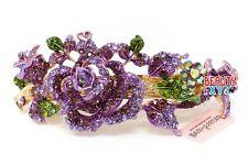 New Purple Rhinestones Crystal Gold Tone Metal flower hair claws clips Barrette