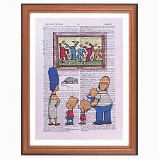 Simpsons vs Keith Haring  Dictionary page art print gift motivation inspiration