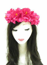 Hot Pink Flower Headband Hair Crown Sugar Skull Garland Halloween Hair Band 826