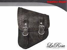 LaRosa V Rod Night Rod Special Saddlebag - Rustic Black Leather Cross Lace Bag