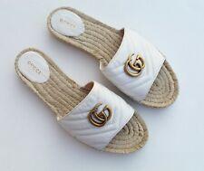 GUCCI 'Marmont' GG Espadrille Open Toe White Gold Women's Platform Sz 41 / US 11