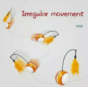 Interactive Cat Toy Rolling Ball Bird Sounds Lights Feathers Orange