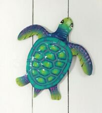 "Outdoor 14"" Metal Baby Sea Turtle Teal/Blue Hanging Tropical Wall Art Decor"