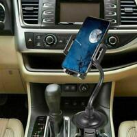 Universal Adjustable Car Mount Gooseneck Cup Holder Cradle for Cell Phone Black