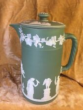 Vintage Wedgwood Chocolate/Tea Pot with Lid Crm on Celadon Jasperware Sacrifice
