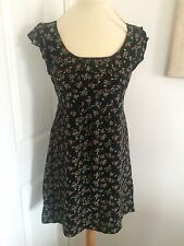 Topshop Black Dress With Floral Pattern, Size 10, Perfect For Spring!