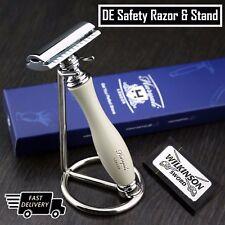 Classic DE Safety Razor & Stainless Steel Stand | Men's Shaving Kit Gift for Him
