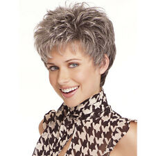 Synthetic Wigs For Women Natural Short Wavy Gray Mix Black Hairstyle Pixie Wigs