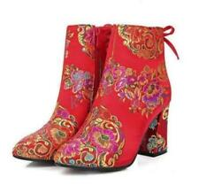 classic Women's Chinese Embroidered Ankle Boots Floral Chunky Heel Wedding Shoes