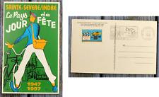Carte postale Jacques Tati, Jour de Fête 50 ans, timbre et flamme commémoratifs