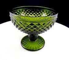 "DEPRESSION ERA GREEN DIAMOND POINT / ENGLISH HOBNAIL 4 3/8"" FOOTED CANDY BOWL"
