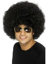 Black 1970's Disco Funky Afro Wig Adult Unisex Smiffys Fancy Dress Costume
