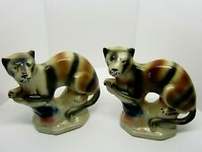 Mantle Cat Pair Wild Tasmanian Tigers Extinct Cats Brazil Vintage Ceramic Lovely