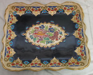 """Antique  ceramic plate tray """"emaux de Longwy"""",  with flowers"""
