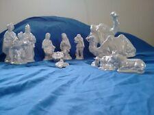 Atlantic Mold Nativity 14 pc White Blue Pearl Finish Christmas 1983 Ceramic
