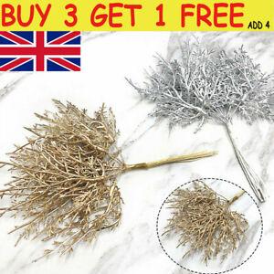 10pcs Artificial Flower Pine Leaves Branch Plant Grass Xmas Wreath Decor UK L8