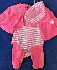 SALE @ APPLE BOTTOMS Stylish Pink Set Jacket Rompers One piece Bib Girls Sz 0-3M