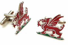 Wales Welsh Dragon Enamel Crested Cufflinks (N17) Gift Boxed