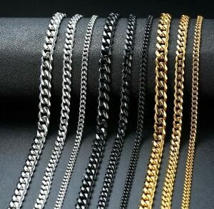 2021 New Basic Punk Unisex Stainless Steel Necklace Curb Cuban Link Chain Choker