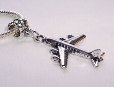 Airplane Airliner Travel Trip Flying Vacation Dangle Charm for European Bracelet