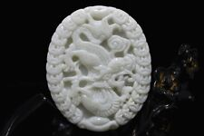 Chinese natural White  jade carved amulet Pendant Necklace Dragon 53
