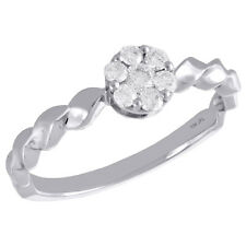 Braided Shank Right Hand Ring 1/4 Ct. 10K White Gold Diamond Flower Cluster w/