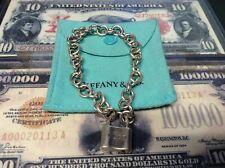 NICE TIFFANY & CO. STERLING SILVER 1837 LOCK PADLOCK CHARM BRACELET 925 IN POUCH