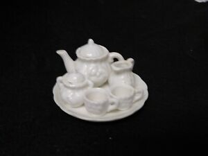 Dollhouse Miniatures 1:6 (?) scale Tea Set. White 7 pcs