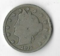 Rare 100 Year Old 1912 US Lady Liberty V Nickel Collection USA Antique Coin L23