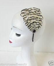 AVORIO CREMA piuma nera Accessorio capelli vintage Fascinator FASCIA ANNI '20