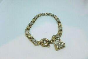 9CT Yellow Gold  Cubic Zirconia Fancy Link Bracelet
